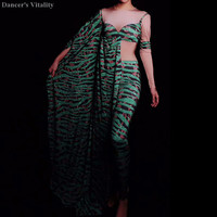 Printed Green Cloak Jumpsuit Leggings DS Costume Female Singer Stage Wear Bodysuit DJ Dance WEAR Party Stretch Jumpsuit Outfit