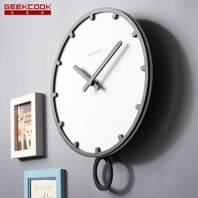 スイング大型壁時計モダンなデザイン 3d ヴィンテージフレームレスウォールクロックリビングルームクラフトセットのクロック木製白 12 14 インチ時計  グループ上の ホーム&ガーデン からの 壁時計 の中 1