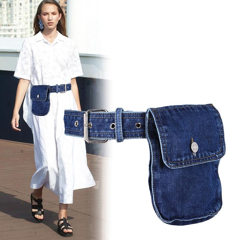 2019 Waist Bag Women Fanny Pack Waist Belt Bag Fashion Adjustable Denim Belt Female Waist Pack Phone Pouch Bum Bags Hip Pack