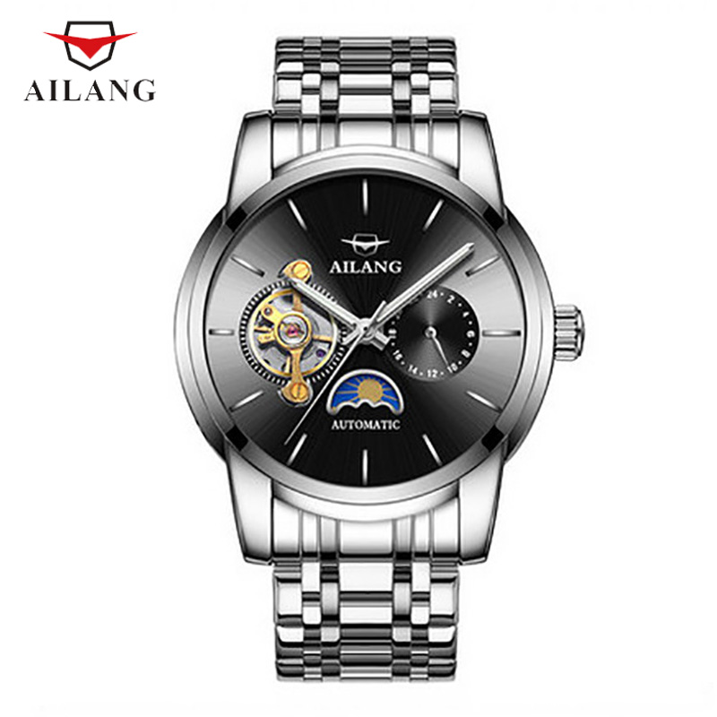 AILANG Male Mechanical Wristwatches Water Resistant Moon Phase Black Silver Shock Resistant Stainless Steel Fashion A055 spot r38t 10g05l1024bm rotary encoder 1024 pulses shaft diameter 10mm outer diameter 38mm