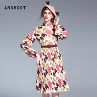 ANNROOT Vintage fashion pleated dress Spring tide ladies high end custom lace sleeves printing aristocratic dress female 17032
