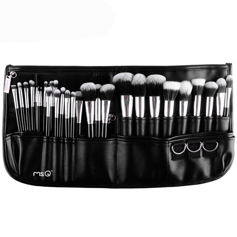 MSQ Professional Make Brush Set 2Makeup Brushes Synthetic Hair Makeup Black Belt Waist Bag - Yasteelau Cosmetic Kits Co., Ltd. store