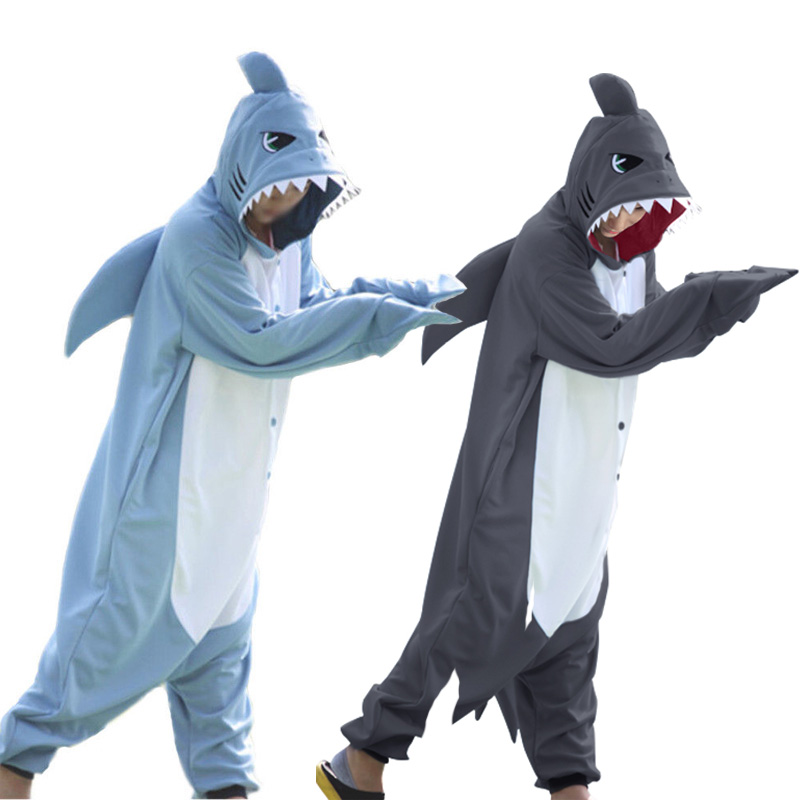 Winter Adults Animal Gray Blue Shark Funny Onesie Pajamas For Women Men Costume Cosplay Unisex Halloween Pajamas Party