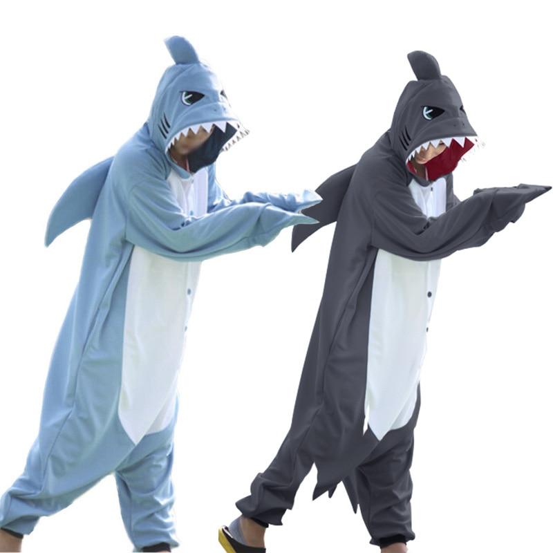 Winter Adults Animal Gray Blue Shark Funny Onesie Pajamas For Women Men Costume Cosplay Unisex Halloween Pajamas Party