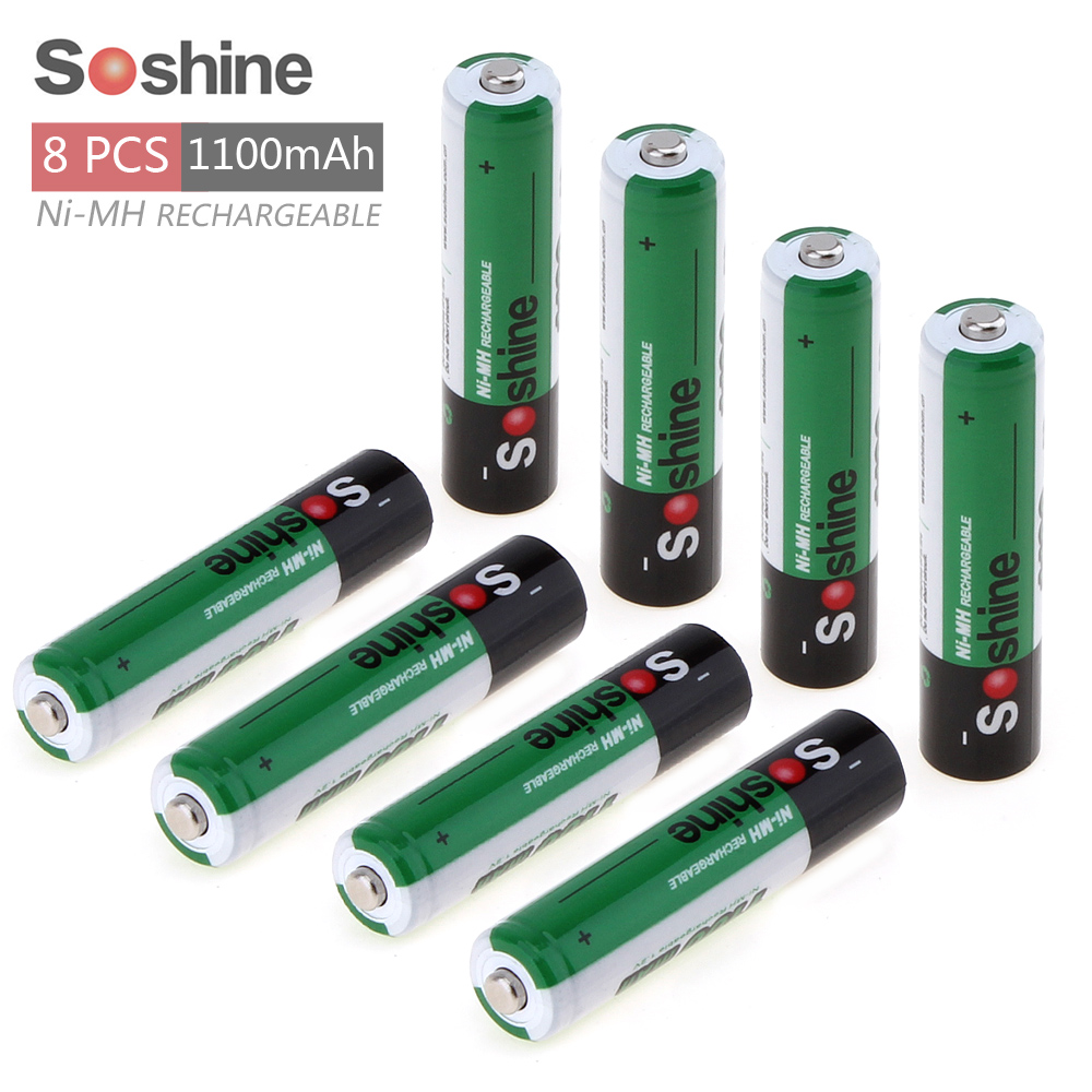 8pcs! Soshine 1.2V AAA 1100mAh Ni-Mh Rechargeable Battery with 1000 Cycle + Portable Battery Box