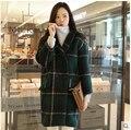 2016 новинка женщин зимнее пальто большой ярдов свободно средней длины пальто женщины загущающие высококачественный плед теплые шерстяные пальто D-0432