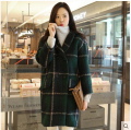 2016 New Fashion Women Winter Coat Big yards Loose Medium Long Coat Women Thickening High-quality Plaid Warm Woolen Coat D-0432