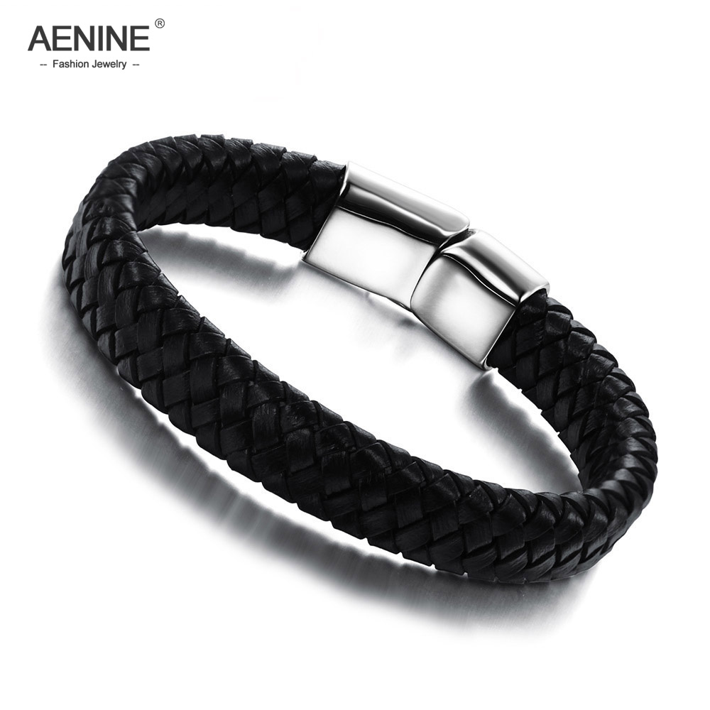 Jewelry & Accessories Aenine Punk Design Knitted Genuine Leather Rope Chain Bracelets For Men Simple Stainless Steel Magnet Buckle Bracelets Aoph894 To Prevent And Cure Diseases Bracelets & Bangles