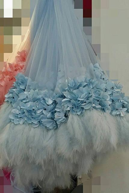 1 yard ligth blue 3D fabric wedding dress with ostrich feather ...