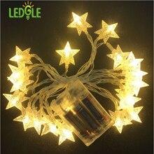 Ledgle Гирлянды светодиодные огни звезды Строка свет декоративные гирляндой 50 светодиодные фонари IP20 2 режима теплый белый 16 4ft 3 xaabattery