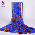 [BYSIFA] Winter Dark Blue Ladies Silk Scarf Shawl Floral Design Women Long Scarves Wraps 200*110cm Large Size Summer Beach Cape