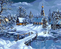 By Numbers DIY Oil Painting Snow Scene Pictures On The Wall Framed Canvas Painting On Canvas