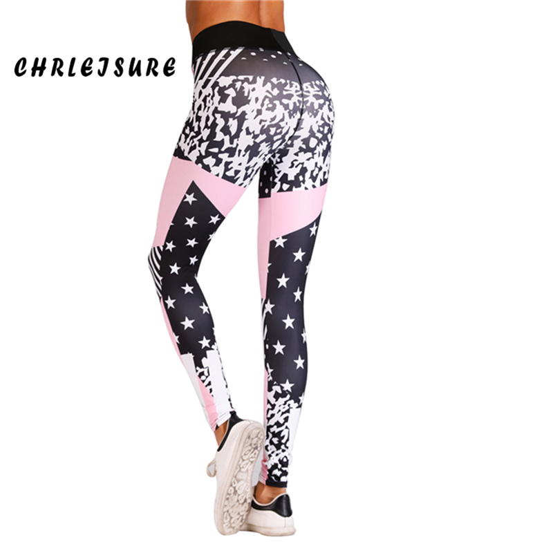 CHRLEISURE Fitness   Leggings   Women 2018 Polyester High Waist Trousers Europe and the United States Printed Female   leggings