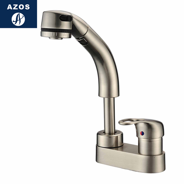 Kitchen Sink Faucets Lift Swivel Pull Out Hose Spray Nickle Brush Single Handle Solid Brass Deck Mount Hot Cold Mixers CLCF005B