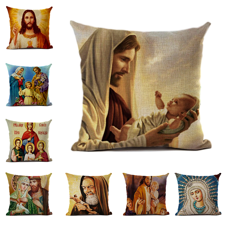 Christian Believer Linen/peach Leather Cushion Cover Jesus Saves The World Pattern Print Cushion Cover Home Faith Decoration