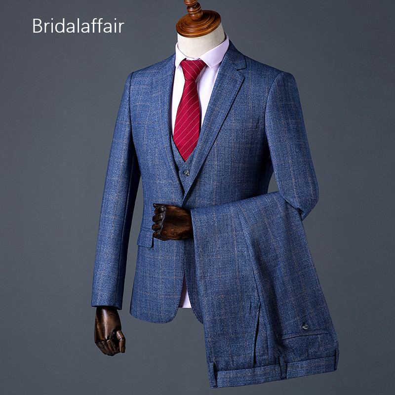 50-70%off world-wide free shipping choose official US $126.33 41% OFF|Bridalaffair Latest Plaid Wedding Suits For Mens Formal  Men's Suit Tailored Slim Fit Groom Luxury Tuxedos 3Pcs Jacket Pants Vest-in  ...