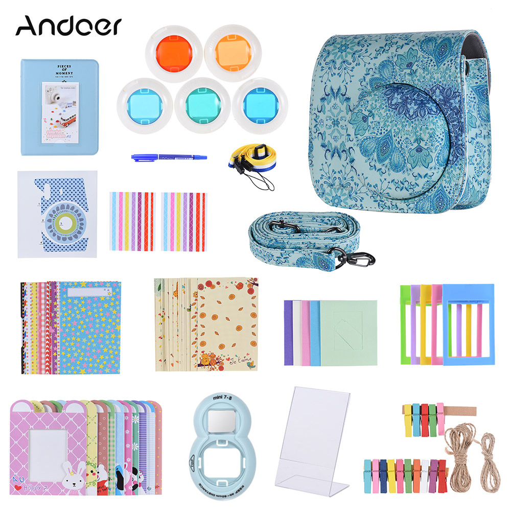 Andoer 14 In 1 Accessories For Fujifilm Instax Mini 8 8 8s 9 Camera Case Strap