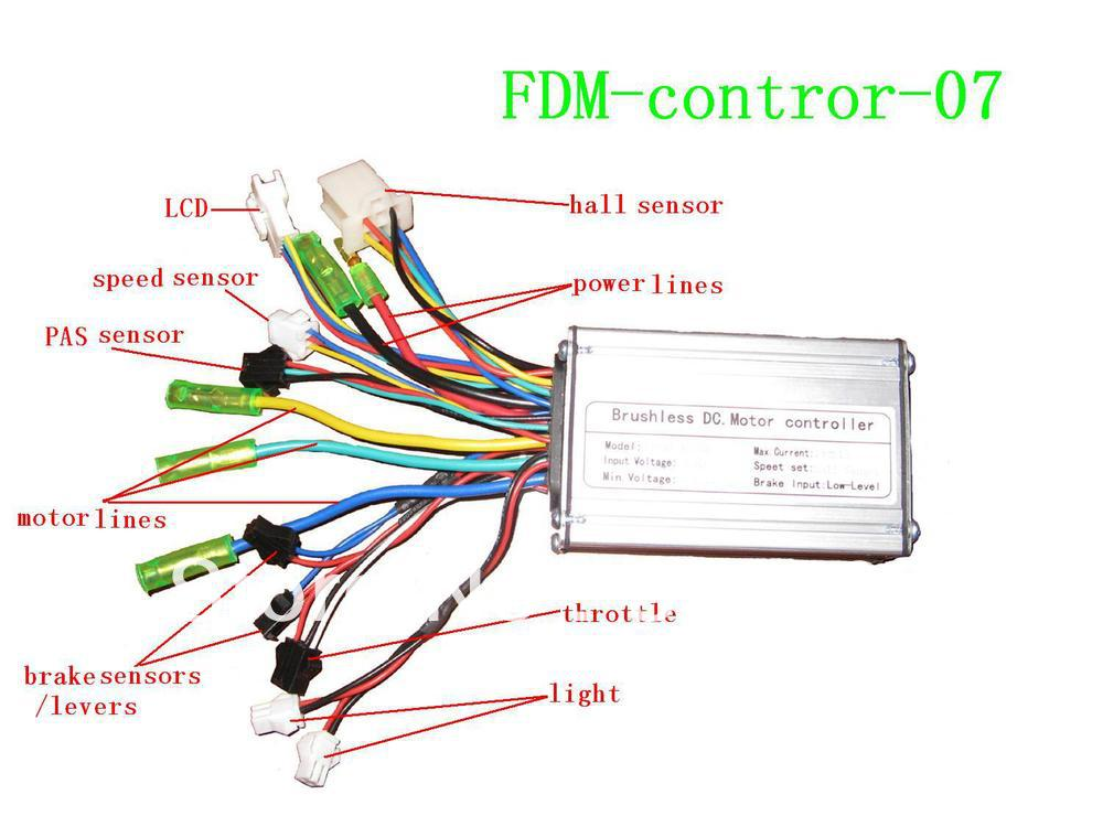 Electric Scooter Motor Controller Wiring Diagram 110cc Wire Harness Bike Sine Wave With Hall Sensor/lcd Display/throttle/light-in Other Sports ...
