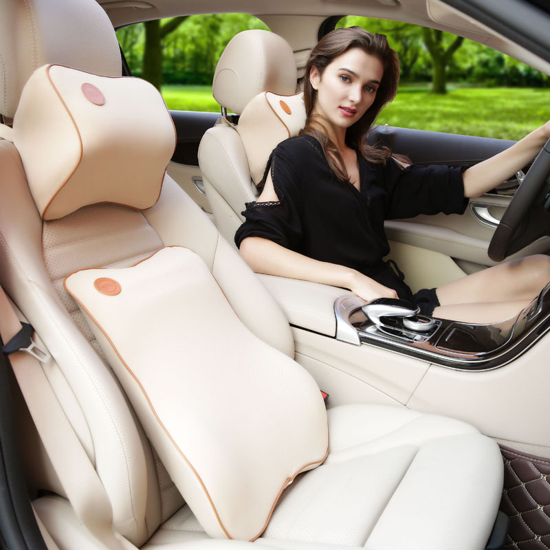 1 Set Soft Memory Foam Removable Cleaning Car Neck Pillow Headrest Lumbar Support Suit For Bmw