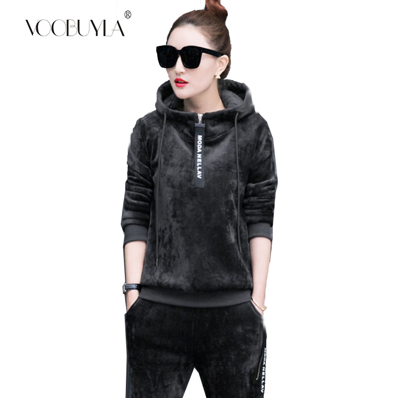 Voobuyla New Autumn Winter Women Velvet Running Set Sweatshirt Pants Stripe Tracksuits Hooded Fitness Yoga Sport