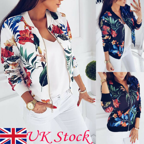 Hot UK Arrival Women Autumn Retro Floral Zipper Up Flight Bomber Fashion Jacket Casual Coat Outwear
