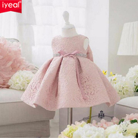 IYEAL Infant Baby Girl Birthday Party Dresses Baptism Christening Easter Gown Toddler Princess Lace Flower Dress for 0 2 Years