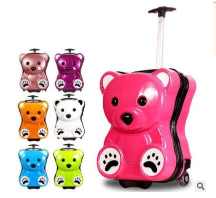 Bear Style Kid's Travel Trolley luggage suitcase Trolley bag on wheels Kid wheeled travel case Children Rolling suitcase for Boy