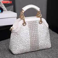 Bolsos Mujeres de moda de lujo diamantes patrón de cocodrilo de cuero genuino hombro bolsa de mensajero bolsas