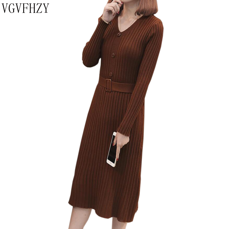 2018 caramel colour Sexy With Sashes Knitted Dress Women Slim Casual Autumn Winter Long Sleeve High Waist V neck Sweater Dresses
