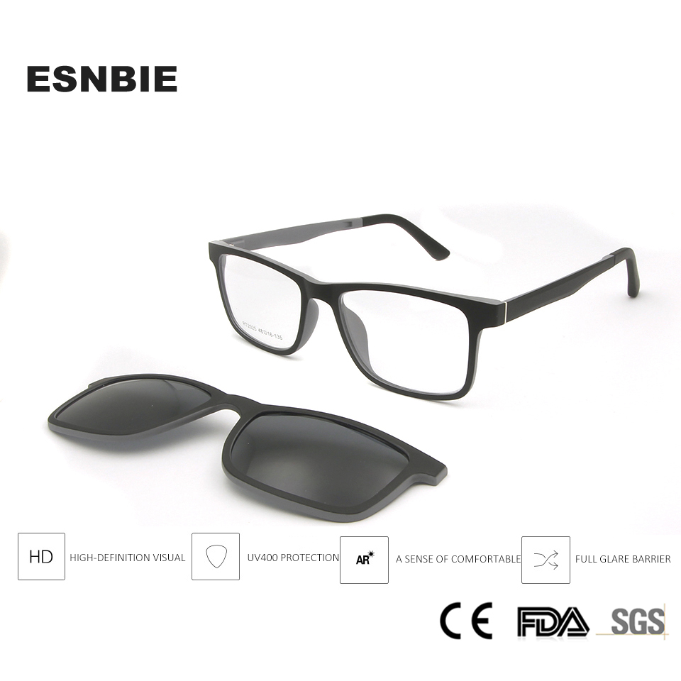Ultralight Ultem Eyeglasses Frame Black Boys Girls Magnetic Clip Sunglasses Polarized Uv400 Square Prescription Myopia LensBoys Sunglasses   -