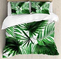 Пальмовых листьев постельное белье, реалистичные яркие листья пальмы роста экологии пышные ботаника тематический принт, e 4 шт. Постельное б