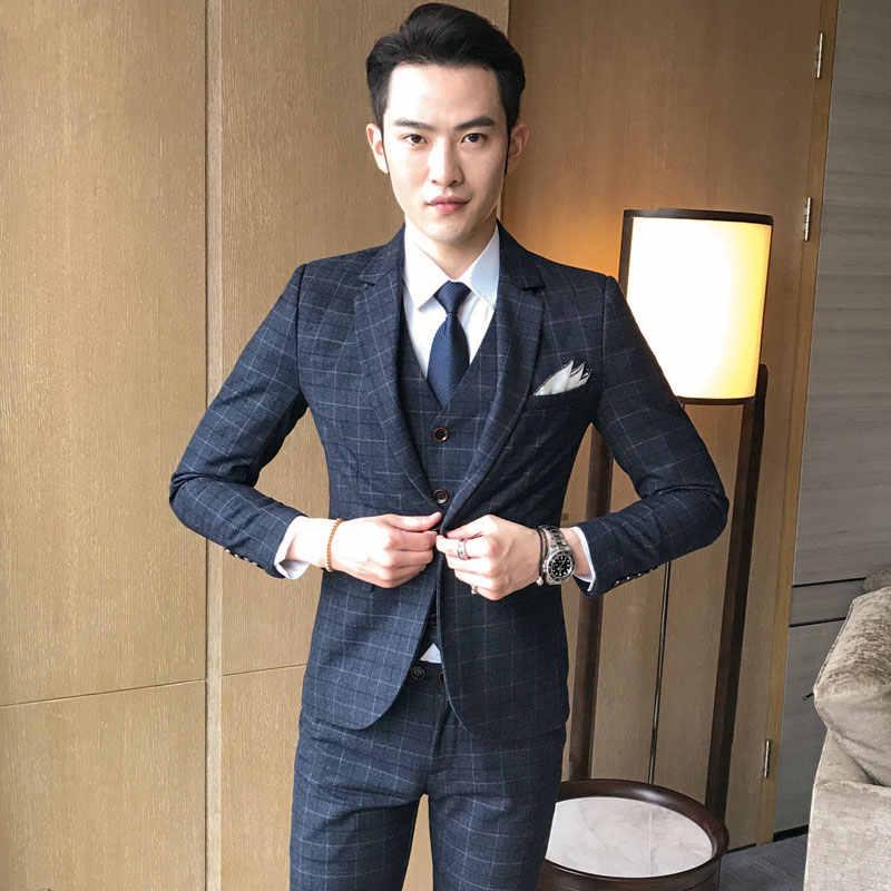 Jacket Vest Pants 2019 New Men S Fashion Boutique Plaid Wedding Dress Suit Three Piece Male Formal Business Casual Suits