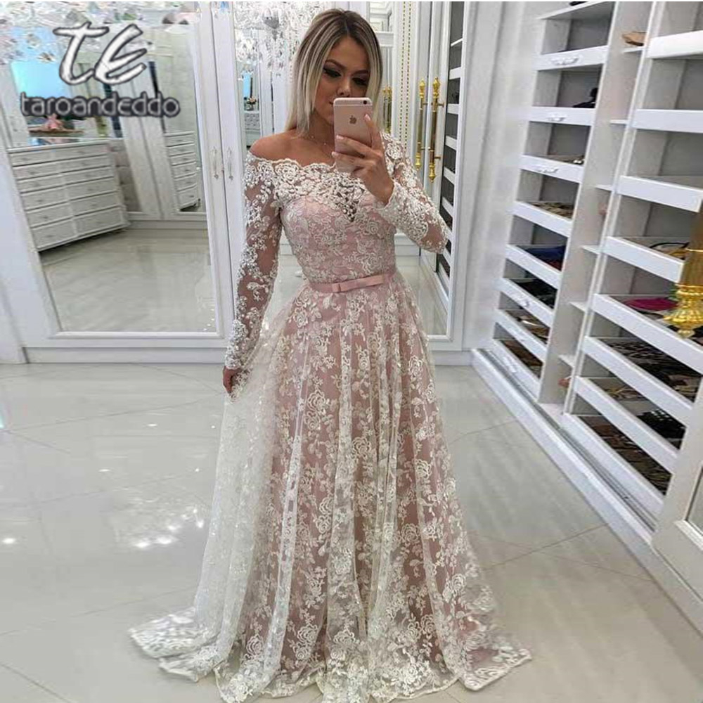 Off Shoulder   Prom     Dresses   Illusion Lace Fabric Pink Lining Floor Length Evening Formal Party   Dress   with Belt Vestido De Fiesta