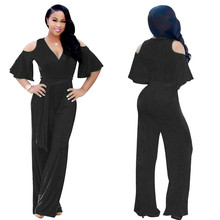 New summer European and American fashion personality high waist lotus sleeve sexy casual style female jumpsuit