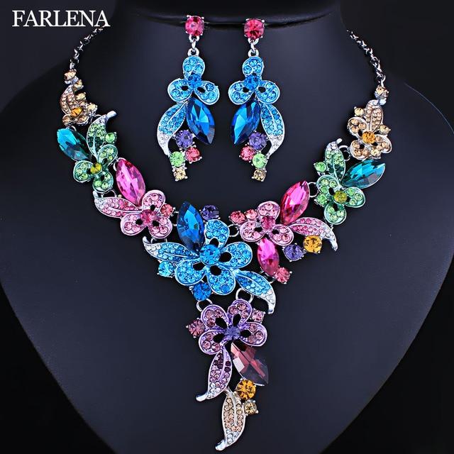 FARLENA Wedding Jewelry Multicolor Crystal Rhinestones Flower Necklace Earrings