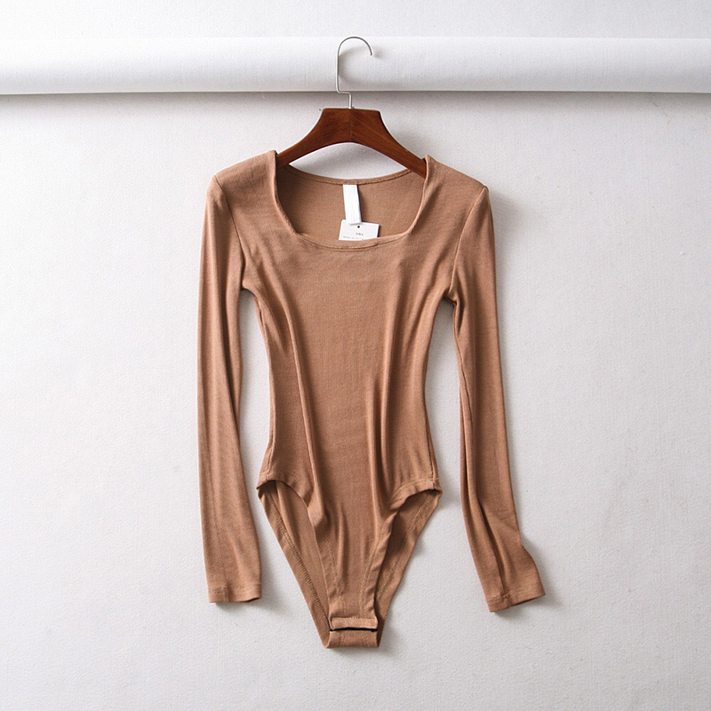Efvandoloe solid women bodysuits square neck casual long sleeve   jumpsuits   sexy body mujer one piece bodies ladies bodysuits