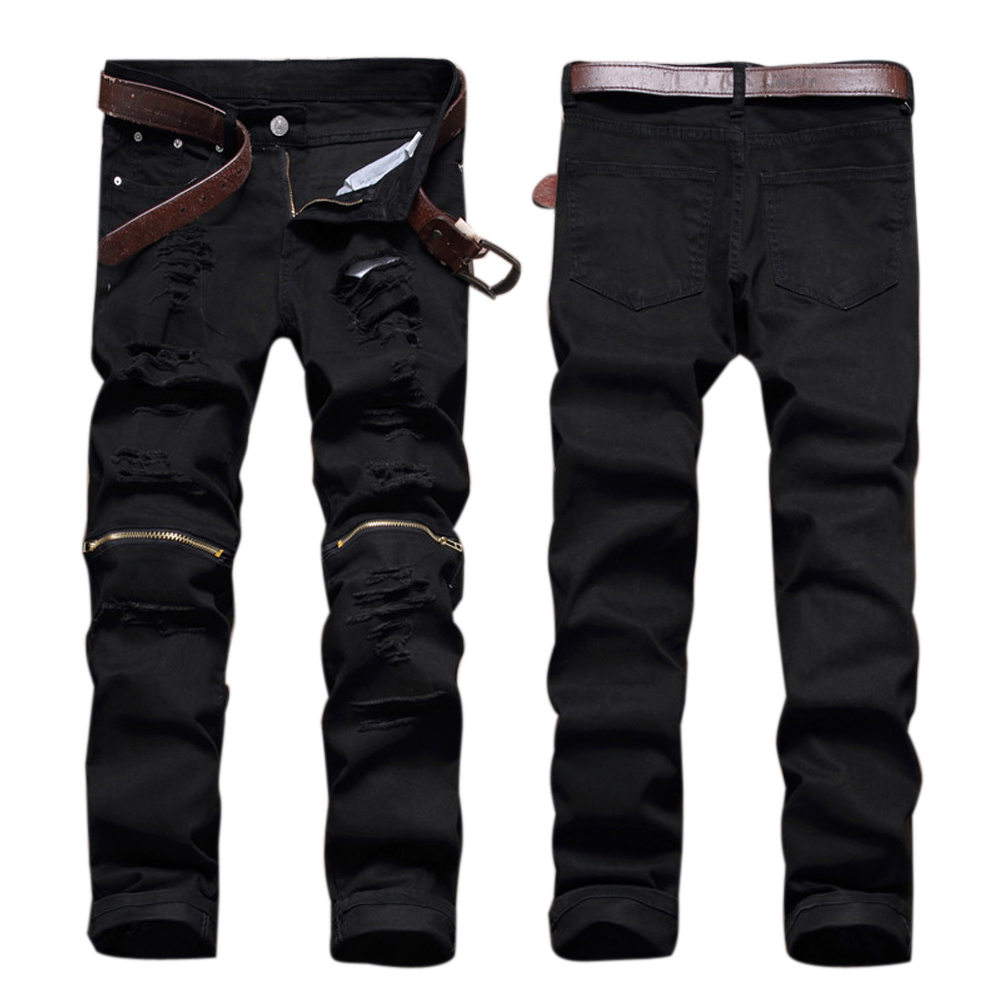 Black Denim Biker Jeans Mens Skinny 2017 New Runway Distressed Slim Elastic Jeans Men Hip Hop Swag Washed Motorcycle Cargo Pants