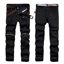 Schwarz Denim Biker Jeans Mens Dünne 2017 Neue Runway Distressed dünne elastische jeans männer hip hop swag gewaschen motorrad fracht hosen