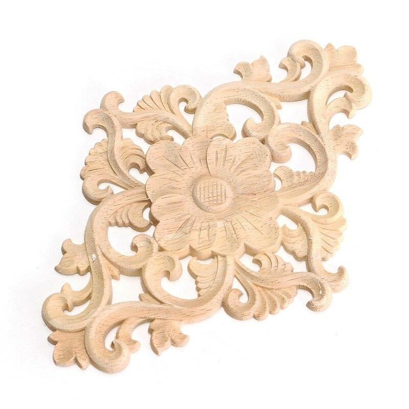 Kiwarm vintage flower pattern wood carved unpainted wood oak