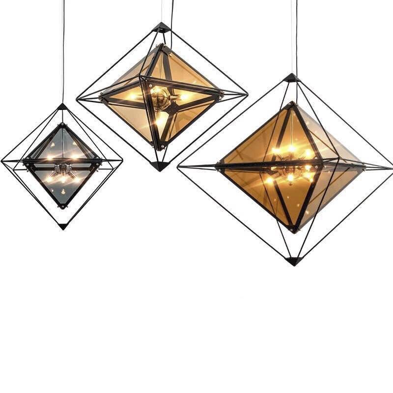 Nordic Diamond Glass LED Pendant Lamp Smoke Grey Design Pendant Light Modern Bedroom Bar Coffee Store Art Pendant Lighting G749