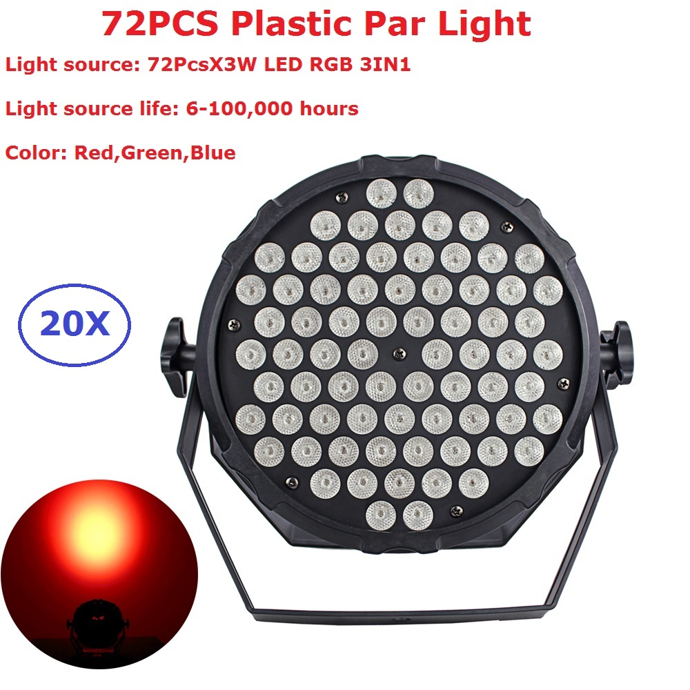 20Pcs Led Par Light 72X3W 3IN1 RGB Flat Plastic LED Par Cans Disco Lamp Stage Lights Luces Discoteca Laser Beam Luz de Projector 2pcs lot led par cans 54x3w rgb 3in1