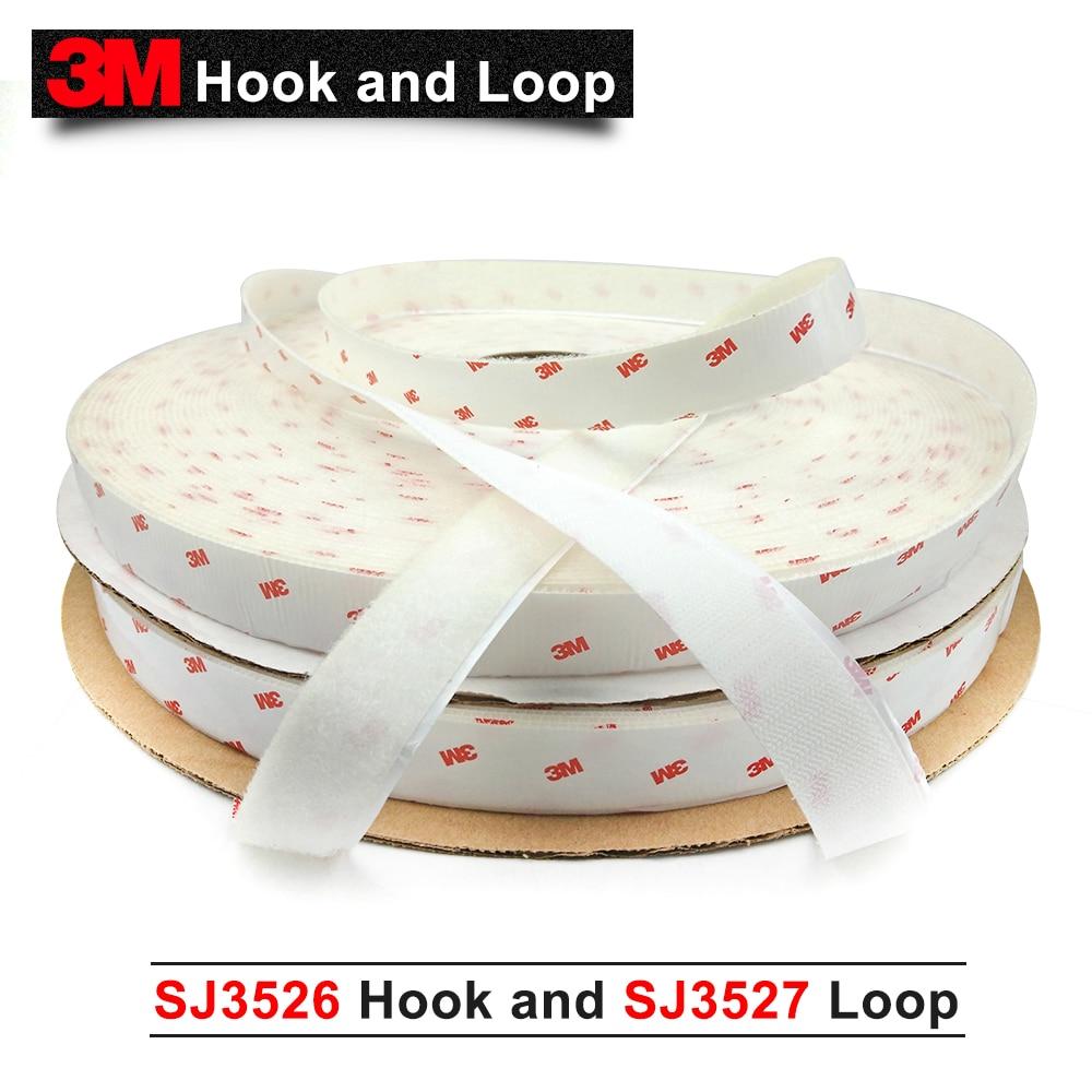 100% 3 м оригинальный продукт крюк 3 м двухсторонняя лента крепежа SJ3526 крюк и SJ3527 петля 1 дюйм * 50 линейный ярдов Белый один набор