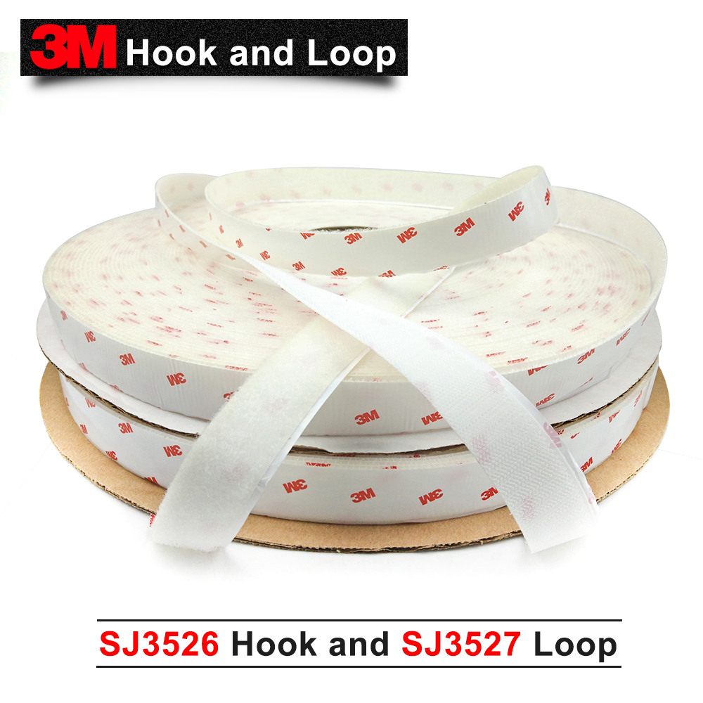 100% 3M Original Product Hook 3M Double Sided Tape Fastener SJ3526 Hook and SJ3527 Loop 1 inch*50 Linear Yard White one set цена