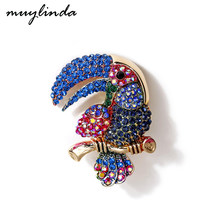 Muylinda Toucan Bird Rhinestone Brooch Pins Costume Animal Brooch Pin For Women Jewelry Clothes Broach Accessories(China)