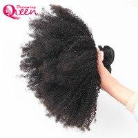 Монгольский афро кудрявый вьющиеся волосы 4B 4C натуральный черный 1B Цвет 100% Человеческие волосы ткань Мечтая Queen Волосы Remy продуктов 1 пучки