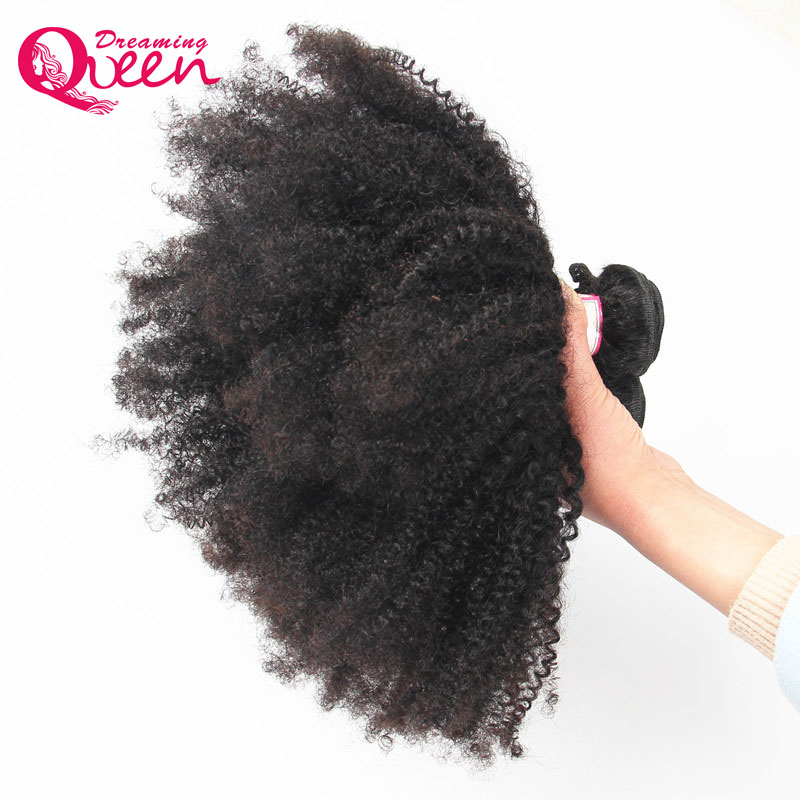 Mongolian Afro Kinky Curly Hair 4B 4C Natural Black 1B Color 100% Human Hair Weave Dreaming Queen Remy Hair Products 1 Bundles