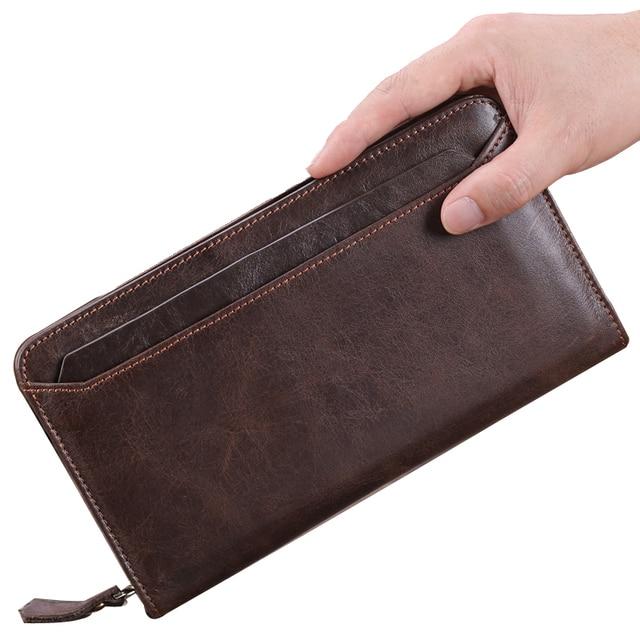7eefa3460372 BETMEN Vintage Genuine Leather Men Wallets Long Casual Male Clutch Wallet  Large Capacity Credit Card Holder