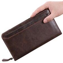 BETMEN Vintage Genuine Leather Men Wallets Long Casual Male Clutch Wallet Large Capacity Credit Card Holder