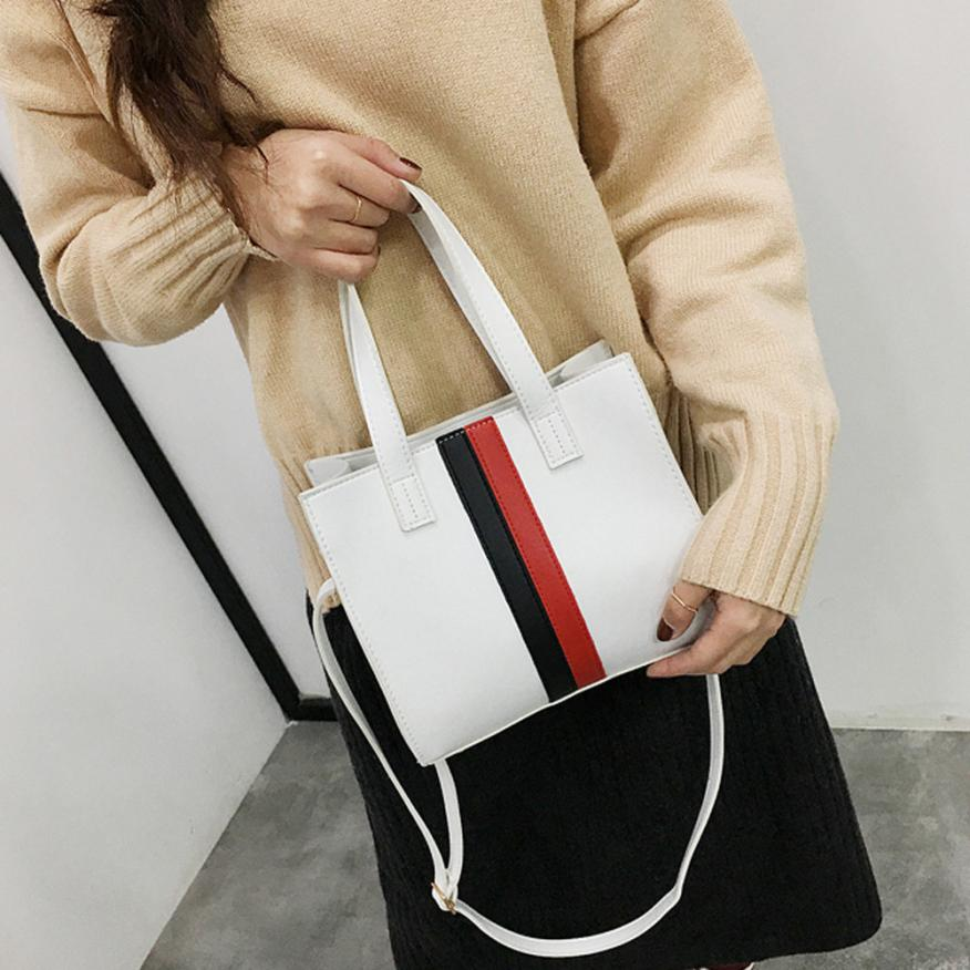 Latest Summer Fashion Women's PU Tote Bag Casual Leather Messenger Shoulder Bag Women's Solid Striped Leather Tote
