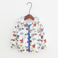 Autumn New Arrival Boys Jacket With Hat Cartoon Graffiti Dinosaurs Thin Children Coats For 2 6Y